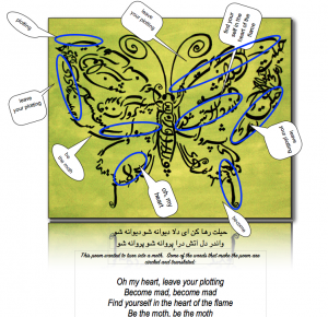 The Persian words of this poem make the body of the moth